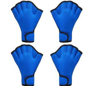 2 Paar Schwimmhandschuhe Aqua Fit Schwimmen Training Handschuhe Neopren Handschuhe Webbed Fitness Wasserwiderstand Trainingshandschuhe für Schwimmen Tauchen mit Handgelenkschlaufe
